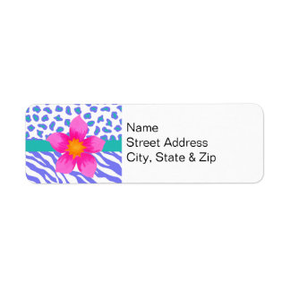 Lavender & White Zebra & Cheetah Pink Flower Return Address Labels