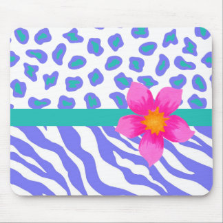 Lavender & White Zebra & Cheetah Pink Flower Mouse Pad