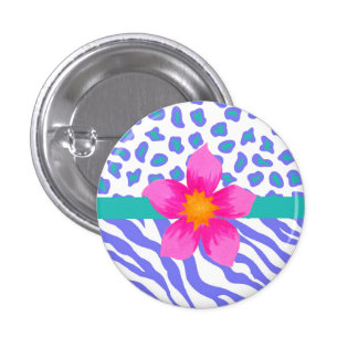 Lavender & White Zebra & Cheetah Pink Flower Pinback Button