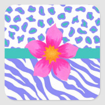 Lavender & White Zebra & Cheetah Pink Flower Square Sticker