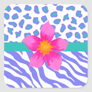 Lavender & White Zebra & Cheetah Pink Flower Square Sticker