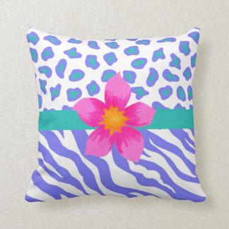 Lavender & White Zebra & Cheetah Pink Flower Throw Pillow