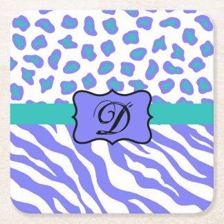 Lavender White Zebra Leopard Skin Monogram Initial Square Paper Coaster