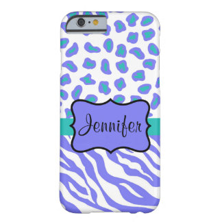 Lavender White Zebra Leopard Skin Name Personalize Barely There iPhone 6 Case
