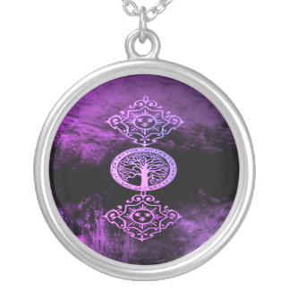 Lavender Wicca Round Pendant Necklace