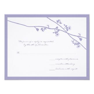 Lavender Wild Flower Branches Wedding RSVP Personalized Announcement