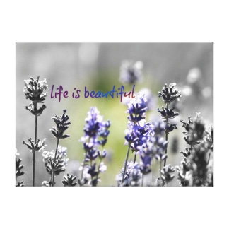 Lavender Wild Flowers Abstract with Quote Canvas Print