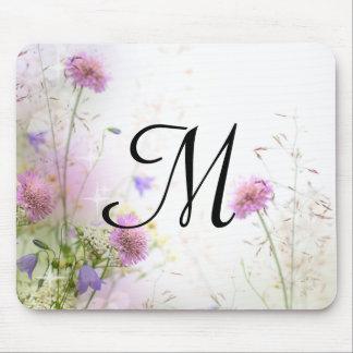 Lavender Wild Flowers Monogram Initial Mouse Pad