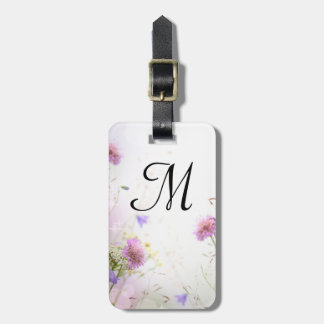 Lavender Wild Flowers Monogram Luggage Tag