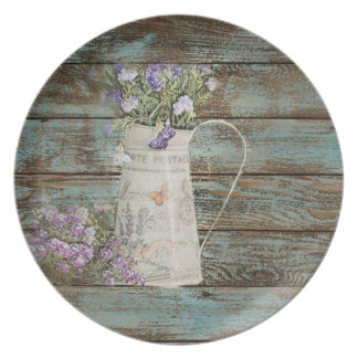 lavender wildflower blue barn wood french country melamine plate