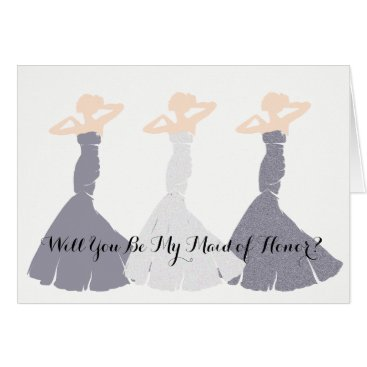 McTiffany Tiffany Aqua Lavender Will You Be My Maid Of Honor Note Cards