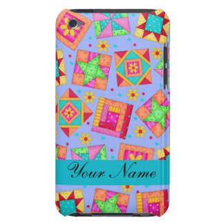 Lavender with Colorful Quilt Blocks & Personalized Barely There iPod Case