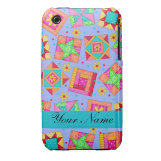 Lavender with Colorful Quilt Blocks & Personalized iPhone 3 Case