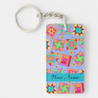 Lavender with Colorful Quilt Blocks & Personalized Keychain