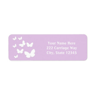 Lavender with White Butterflies Address Labels
