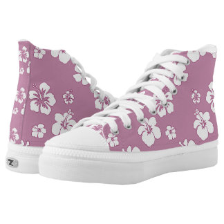 Lavender with White Hibiscus Flowers High-Top Sneakers