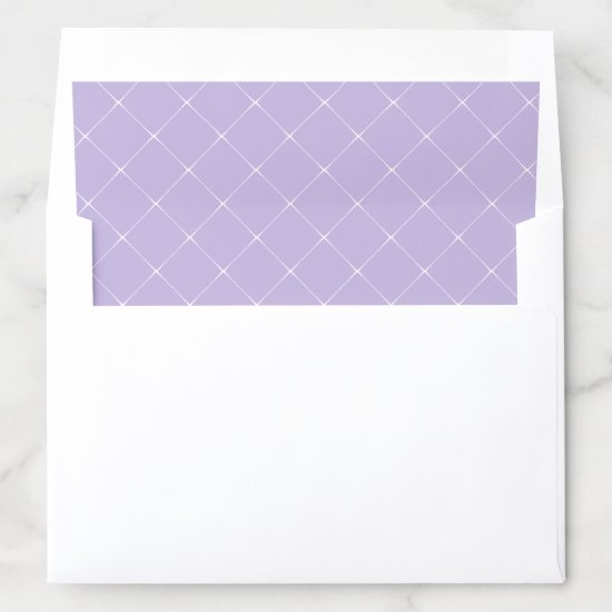 Lavender with White Lattice Work Overlay Envelope Liner