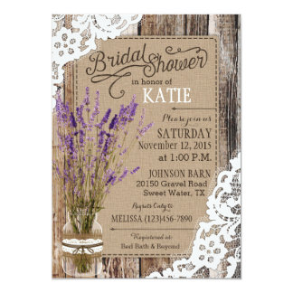 Lavender Wood Lace Rustic Bridal Shower Card