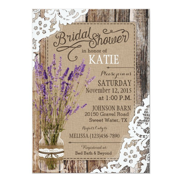 Lace Rustic Bridal Shower Invitation