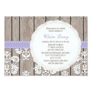 Lavender Wood Lace Rustic Bridal Shower Invitation