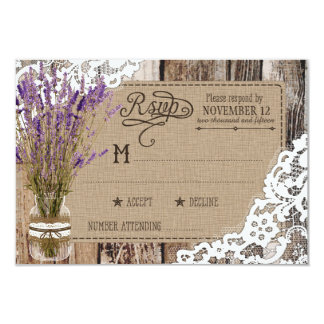 Lavender Wood Lace Rustic RSVP Card