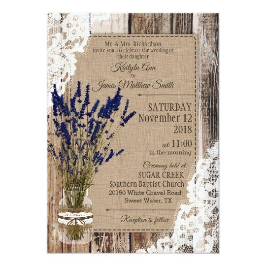 Lavender Wood Lace Rustic Wedding Invitation