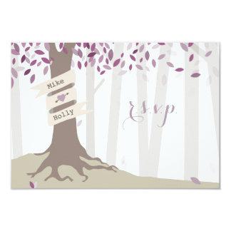 Lavender Woodland Wedding RSVP Card