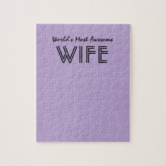 Lavender Worlds Most Awesome Wife Custom Gift Item Puzzles