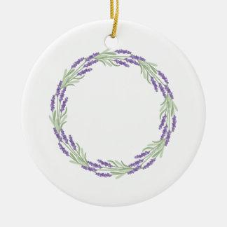Lavender Wreath Ceramic Ornament