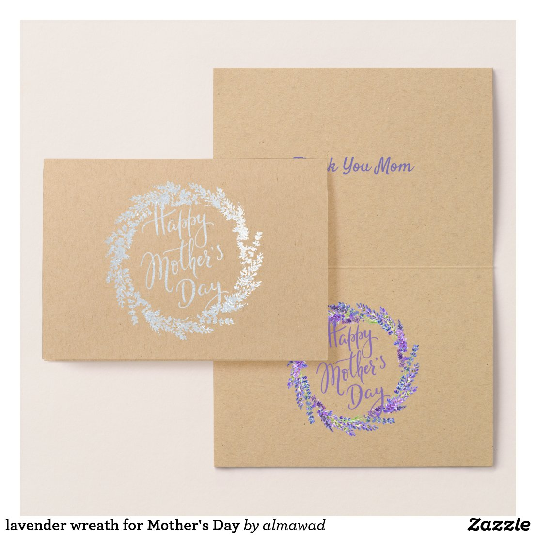 lavender wreath for Mother's Day Foil Card
