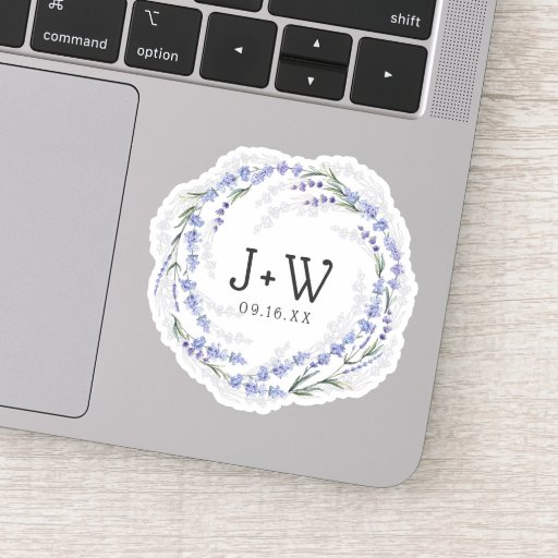 Lavender Wreath Monogram Wedding Date Sticker