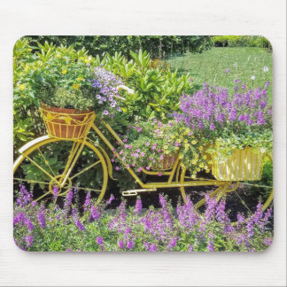 Lavender & Yellow Bicycle Planter Mouse Pad