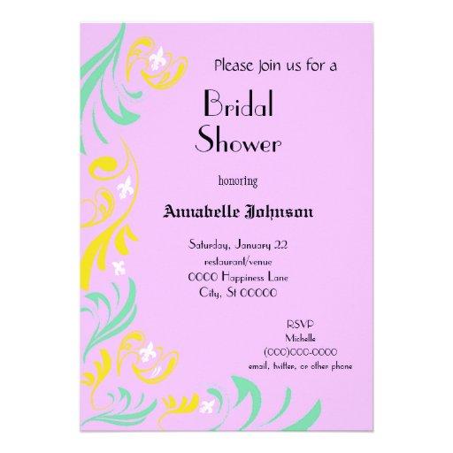 Lavender Yellow Fleur de Lis Vine Bridal Shower Custom Invitations
