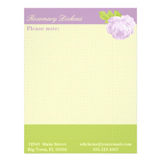 Lavender Yellow Green Polkadots and Rose Letterhead