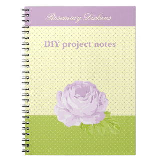 Lavender Yellow Green Polkadots and Rose Notebook