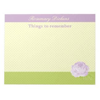 Lavender Yellow Green Polkadots and Rose Notepad