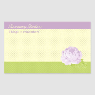 Lavender Yellow Green Polkadots and Rose Rectangular Sticker
