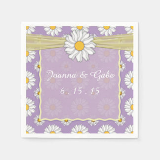Lavender Yellow White Daisy Floral Wedding Napkins