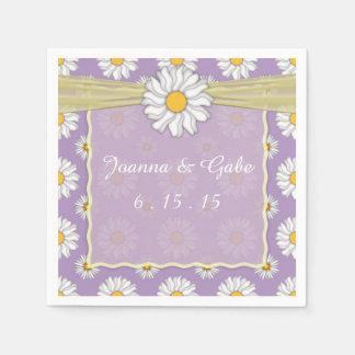 Lavender Yellow White Daisy Floral Wedding Napkins Standard Cocktail Napkin