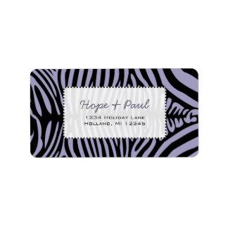 Lavender Zebra Skin Change Background Color Address Label