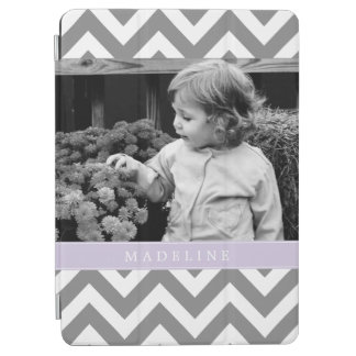 Lavender Zigzags Personalized Photo iPad Air Cover