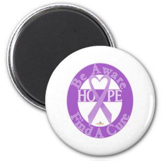LavenderHeartRibbonBeAwareFindCureDark Imán Redondo 5 Cm
