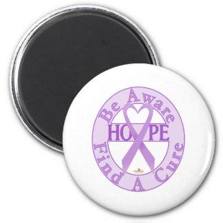 LavenderHeartRibbonBeAwareFindCureLight Imán Redondo 5 Cm