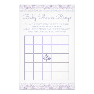 Lavener Lace Girl Baby Shower Bingo Card