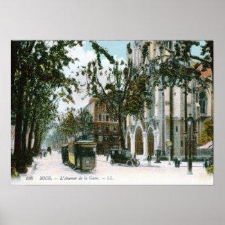 L'Avenue de la Gare, Nice, France Vintage print