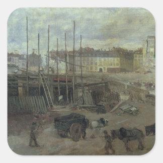 L'Avenue de L'Opera, 1878 Pegatina Cuadrada