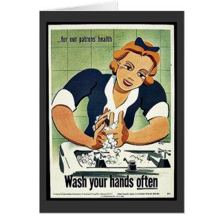 Lávese las manos a menudo tarjeta de felicitación