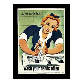 Lávese las manos a menudo postal