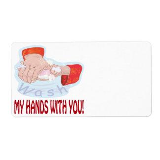 Lávese las manos con usted etiqueta de envío