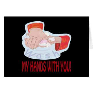 Lávese las manos con usted tarjeta de felicitación